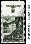 GERMANY - CIRCA 1940: A stamp printed in Germany showing buildings of Poland (Castle courtyard, Krakow) , circa 1940 - stock photo