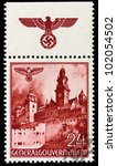 GERMANY - CIRCA 1940: A stamp printed in Germany showing buildings of Poland (Castle Wawel, Krakow) , circa 1940 - stock photo