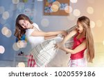 friendship  people and pajama... | Shutterstock . vector #1020559186