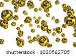 gold bingo balls fall randomly... | Shutterstock . vector #1020562705