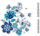 ornate ornament with fantastic...   Shutterstock .eps vector #1020564415