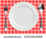 empty plate  fork and spoon on... | Shutterstock .eps vector #1020566098