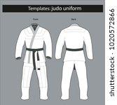 template  kimono for judo...   Shutterstock .eps vector #1020572866