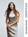 woman wearing long evening... | Shutterstock . vector #1020576142