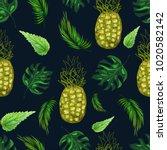 bright pineapples  nettle and... | Shutterstock .eps vector #1020582142