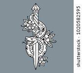 vector tattoo dagger with green ... | Shutterstock .eps vector #1020582595
