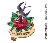 tattoo red rose with ribbon ... | Shutterstock .eps vector #1020582598