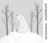 a cute white bear sits on the... | Shutterstock .eps vector #1020584155