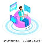 isometrics man communicates in... | Shutterstock .eps vector #1020585196