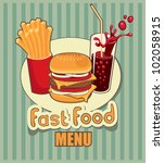 banner with fast food with cola ... | Shutterstock .eps vector #102058915