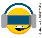 vector cute emoji vr glasses... | Shutterstock .eps vector #1020590866