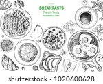 breakfast top view frame.... | Shutterstock .eps vector #1020600628