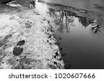 Footprints In The Snow Near A...