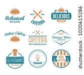 set of restaurant shop design... | Shutterstock .eps vector #1020615286