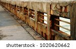 bridge pier railing rusty... | Shutterstock . vector #1020620662