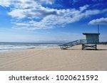 baywatch on the empty beach | Shutterstock . vector #1020621592