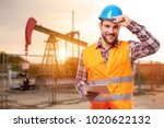 refinery worker with tablet... | Shutterstock . vector #1020622132