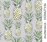 vector. seamless tropical... | Shutterstock .eps vector #1020627136