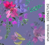 watercolor flowers. seamless... | Shutterstock . vector #1020627142