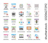 flat icons of web and seo  | Shutterstock .eps vector #1020627292