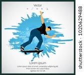 skateboarder jump  sport... | Shutterstock .eps vector #1020629488
