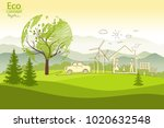 green globe on the tree. tree... | Shutterstock .eps vector #1020632548