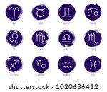 round zodiac symbols vector set ... | Shutterstock .eps vector #1020636412