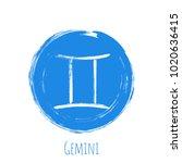 round blue gemini horoscope...   Shutterstock .eps vector #1020636415