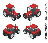 isometric tractor works in a... | Shutterstock . vector #1020651976