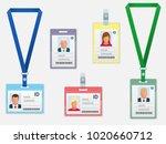 set of employees identification ... | Shutterstock . vector #1020660712