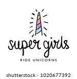 super girls ride unicorns... | Shutterstock .eps vector #1020677392