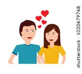 happy couple embraced together... | Shutterstock .eps vector #1020679768
