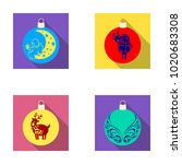 new year's toys flat icons in...   Shutterstock . vector #1020683308