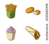 food  refreshments  snacks and... | Shutterstock . vector #1020683398