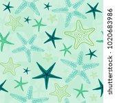 starfish seamless pattern in... | Shutterstock .eps vector #1020683986