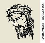 christ face sketch drawing  art ... | Shutterstock .eps vector #1020685156