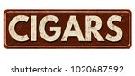cigars vintage rusty metal sign ... | Shutterstock .eps vector #1020687592