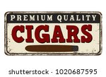 cigars vintage rusty metal sign ... | Shutterstock .eps vector #1020687595