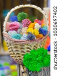 basket filled with various... | Shutterstock . vector #1020697402