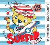 cute cartoon surfer tiger... | Shutterstock .eps vector #1020703846