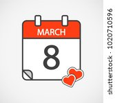red calender color 8 march icon ... | Shutterstock .eps vector #1020710596