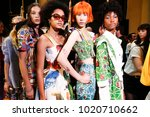 Small photo of MILAN, ITALY - SEPTEMBER 24: Models are seen backstage ahead of the Stella Jean show during Milan Fashion Week Spring/Summer 2018 on September 24, 2017 in Milan, Italy.