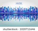 harbor and city at night with... | Shutterstock .eps vector #1020711646