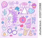 illustration set of feminine...   Shutterstock . vector #1020723088