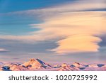 icelandic landscape with snow... | Shutterstock . vector #1020725992
