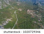 aerial view on road serpentine... | Shutterstock . vector #1020729346