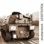 old tank on the road scene.   Shutterstock . vector #1020731926
