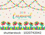 2018 carnival greeting card... | Shutterstock .eps vector #1020742042