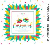 2018 carnaval funfair card with ... | Shutterstock .eps vector #1020742072