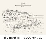 goa  india. fishing boats with... | Shutterstock .eps vector #1020754792